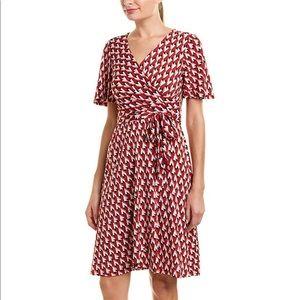 NWT Donna Morgan Flutter Sleeve Geo Wrap Dress 0